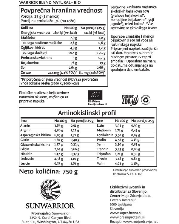 Sunwarrior beljakovine naravni okus